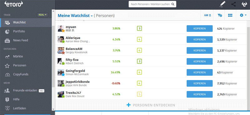 Deine Favoriten in der Watchlist